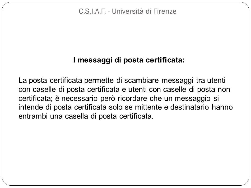 C.S.I.A.F. - Università di Firenze I messaggi di posta certificata: La posta certificata permette di scambiare messaggi tra utenti con caselle di post