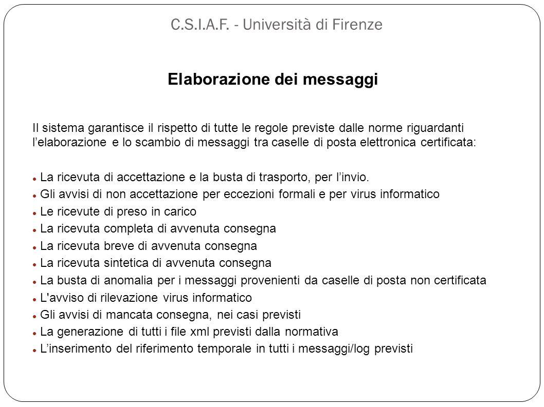 C.S.I.A.F. - Università di Firenze Elaborazione dei messaggi Il sistema garantisce il rispetto di tutte le regole previste dalle norme riguardanti l'e