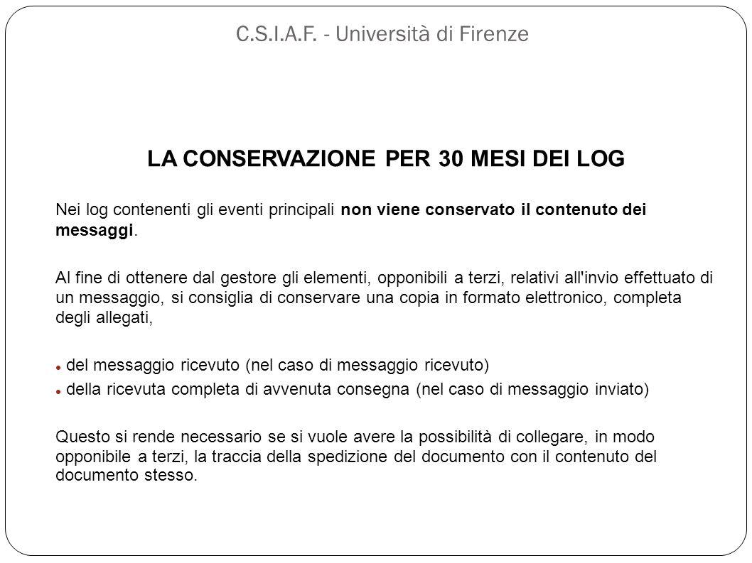 C.S.I.A.F. - Università di Firenze LA CONSERVAZIONE PER 30 MESI DEI LOG Nei log contenenti gli eventi principali non viene conservato il contenuto dei