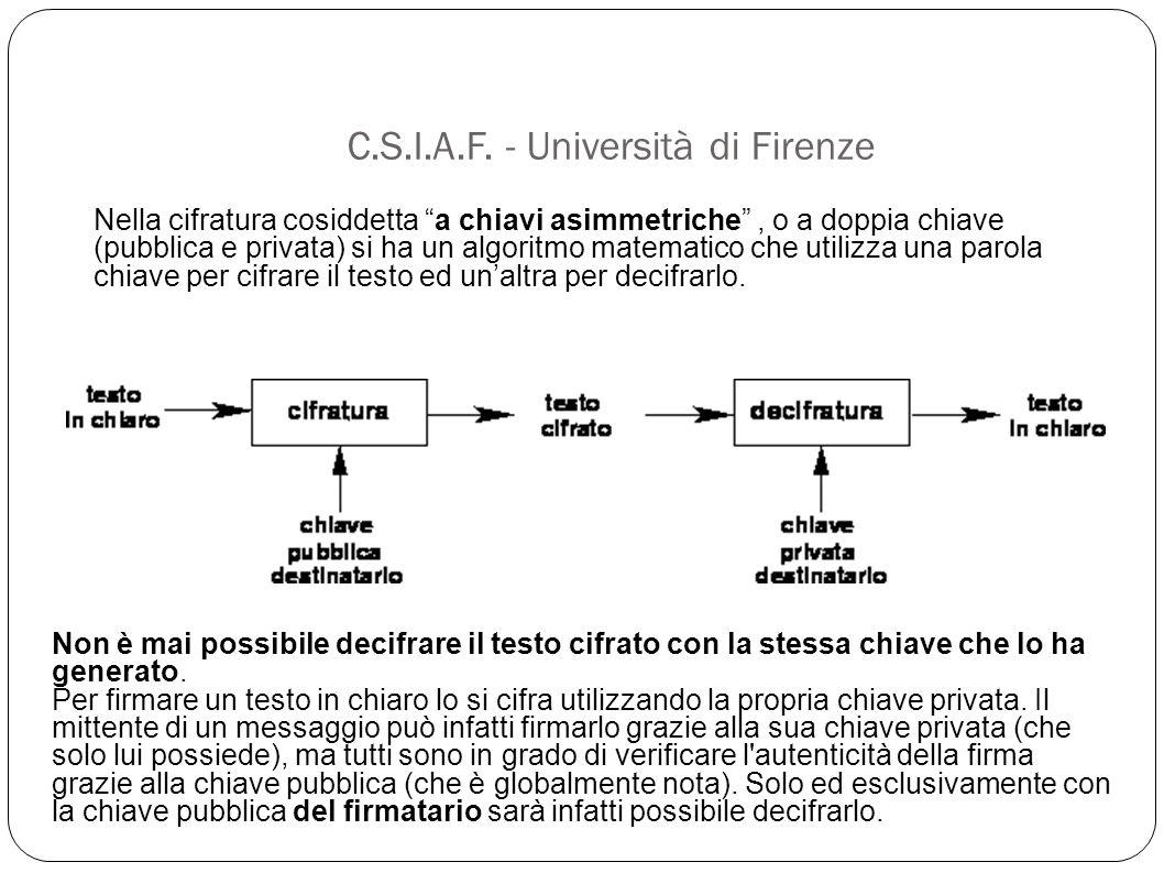"""C.S.I.A.F. - Università di Firenze Nella cifratura cosiddetta """"a chiavi asimmetriche"""", o a doppia chiave (pubblica e privata) si ha un algoritmo matem"""