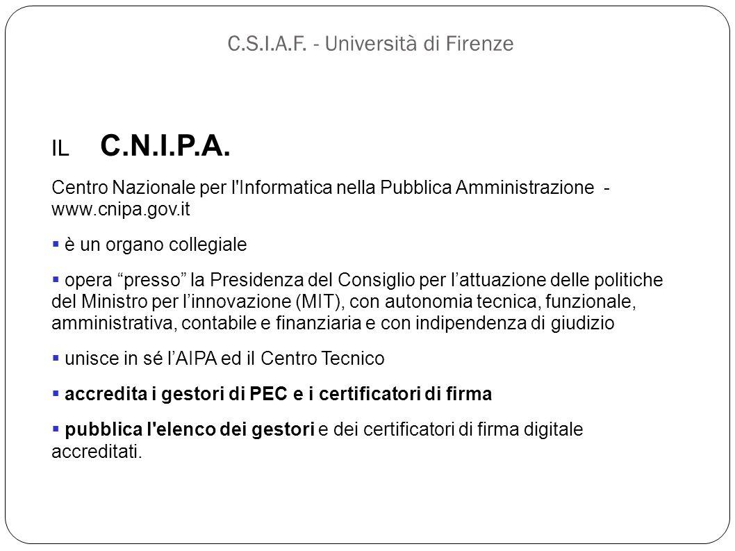 C.S.I.A.F. - Università di Firenze IL C.N.I.P.A. Centro Nazionale per l'Informatica nella Pubblica Amministrazione - www.cnipa.gov.it  è un organo co