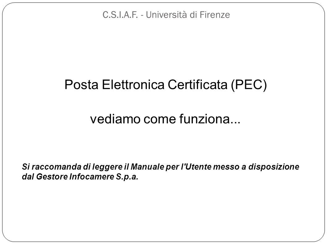 C.S.I.A.F. - Università di Firenze Posta Elettronica Certificata (PEC) vediamo come funziona... Si raccomanda di leggere il Manuale per l'Utente messo