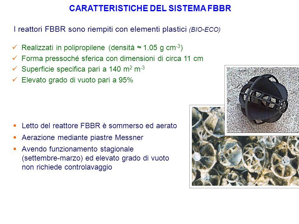 I reattori FBBR sono riempiti con elementi plastici (BIO-ECO) Realizzati in polipropilene (densità  1.05 g cm -3 ) Forma pressoché sferica con dimens