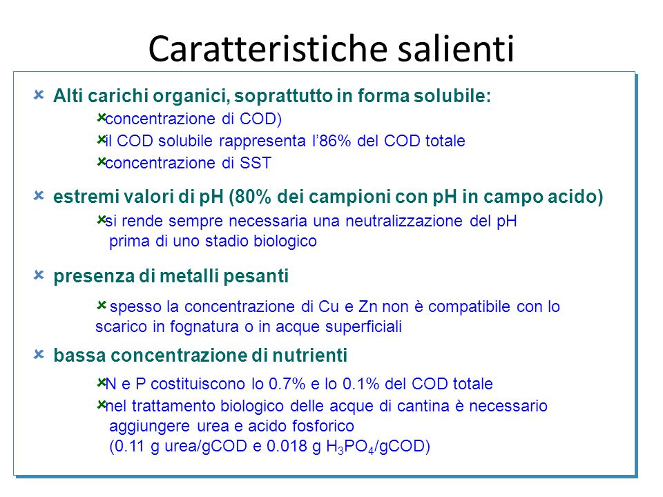  Alti carichi organici, soprattutto in forma solubile:  estremi valori di pH (80% dei campioni con pH in campo acido)  presenza di metalli pesanti
