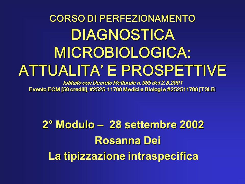 CORSO DI PERFEZIONAMENTO DIAGNOSTICA MICROBIOLOGICA: ATTUALITA' E PROSPETTIVE Istituito con Decreto Rettorale n.985 del 2.8.2001 Evento ECM [50 crediti], #2525-11788 Medici e Biologi e #252511788 [TSLB CORSO DI PERFEZIONAMENTO DIAGNOSTICA MICROBIOLOGICA: ATTUALITA' E PROSPETTIVE Istituito con Decreto Rettorale n.985 del 2.8.2001 Evento ECM [50 crediti], #2525-11788 Medici e Biologi e #252511788 [TSLB] 2° Modulo – 28 settembre 2002 Rosanna Dei Rosanna Dei La tipizzazione intraspecifica