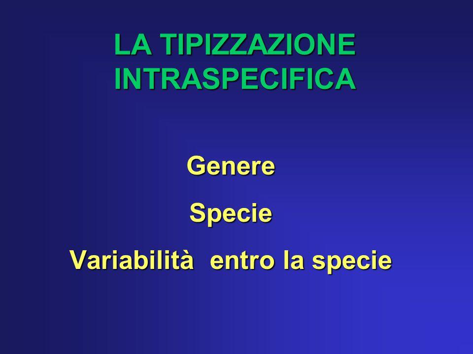 LA TIPIZZAZIONE INTRASPECIFICA GenereSpecie Variabilità entro la specie