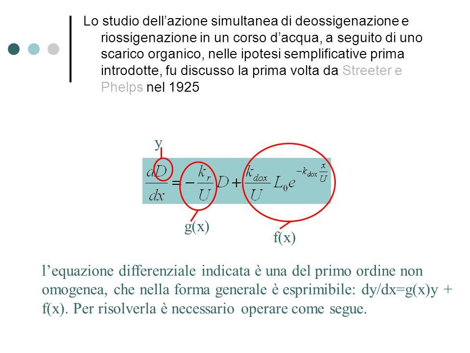 Lo studio dell'azione simultanea di deossigenazione e riossigenazione in un corso d'acqua, a seguito di uno scarico organico, nelle ipotesi semplificative prima introdotte, fu discusso la prima volta da Streeter e Phelps nel 1925 l'equazione differenziale indicata è una del primo ordine non omogenea, che nella forma generale è esprimibile: dy/dx=g(x)y + f(x).