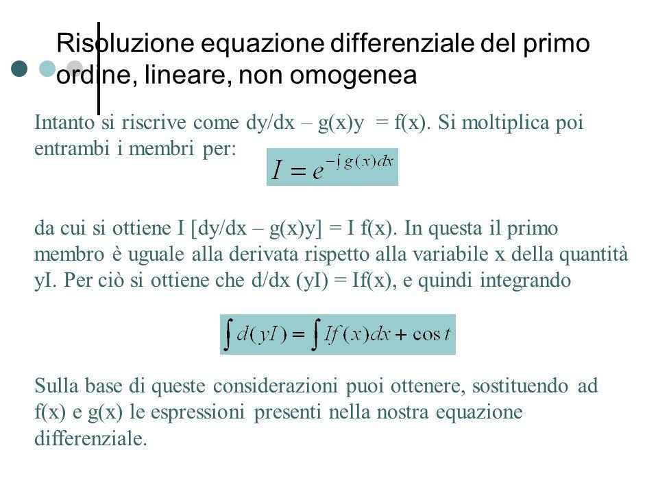Risoluzione equazione differenziale del primo ordine, lineare, non omogenea Intanto si riscrive come dy/dx – g(x)y = f(x).