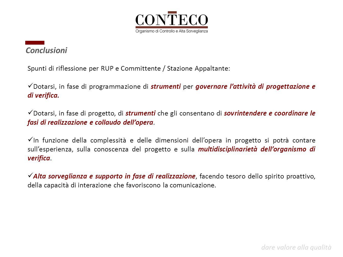Conclusioni Spunti di riflessione per RUP e Committente / Stazione Appaltante: Dotarsi, in fase di programmazione di strumenti per governare l'attivit