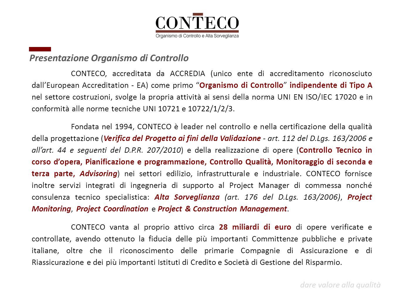 """CONTECO, accreditata da ACCREDIA (unico ente di accreditamento riconosciuto dall'European Accreditation - EA) come primo """"Organismo di Controllo"""" indi"""
