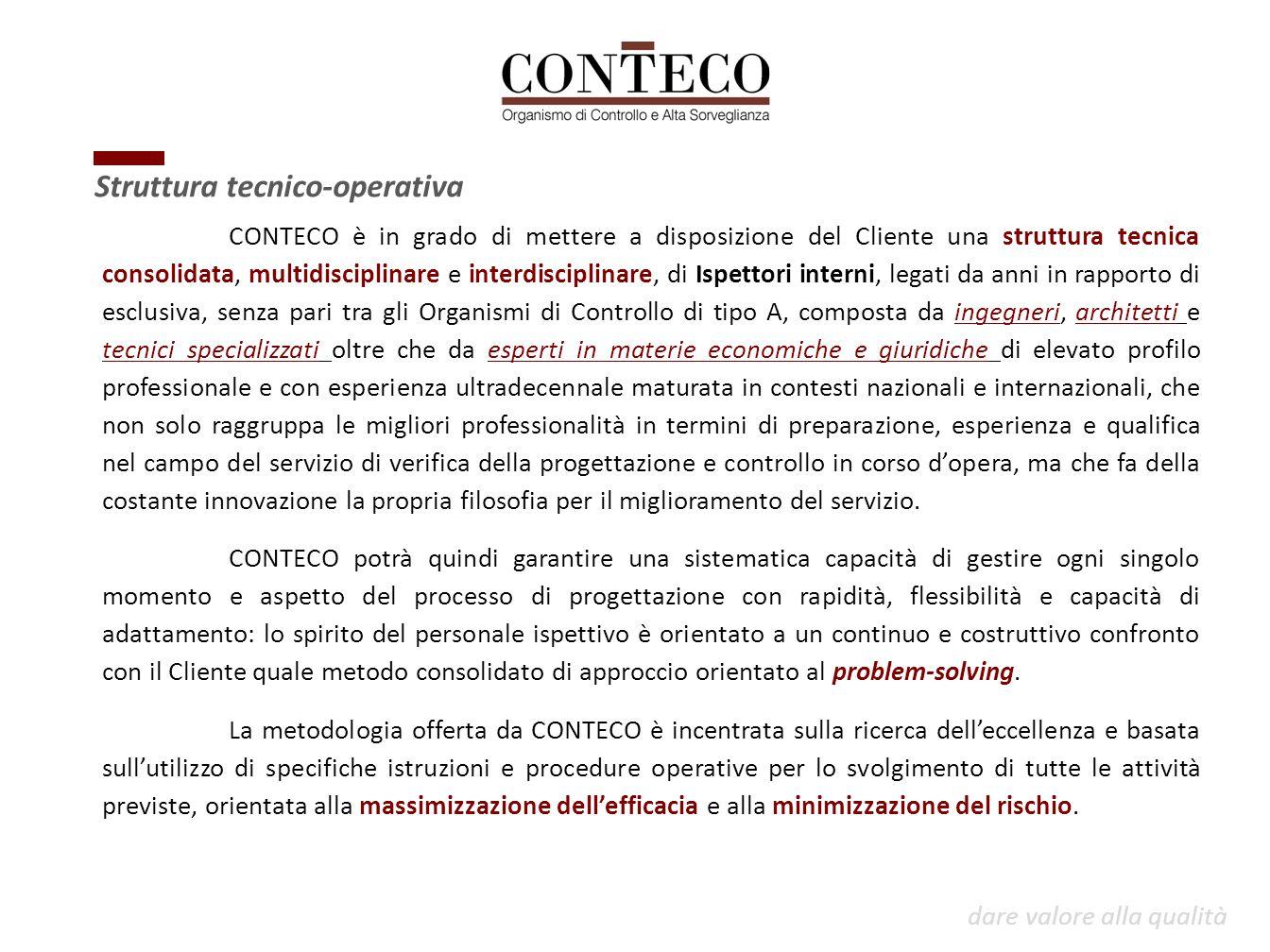 CONTECO è in grado di mettere a disposizione del Cliente una struttura tecnica consolidata, multidisciplinare e interdisciplinare, di Ispettori intern