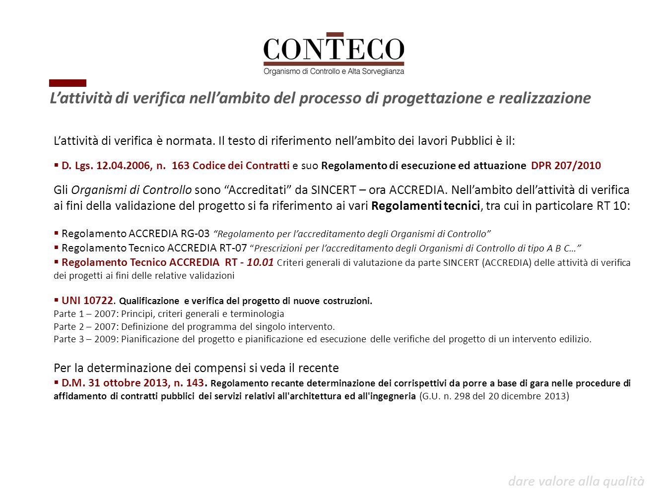 L'attività di verifica è normata. Il testo di riferimento nell'ambito dei lavori Pubblici è il:  D. Lgs. 12.04.2006, n. 163 Codice dei Contratti e su