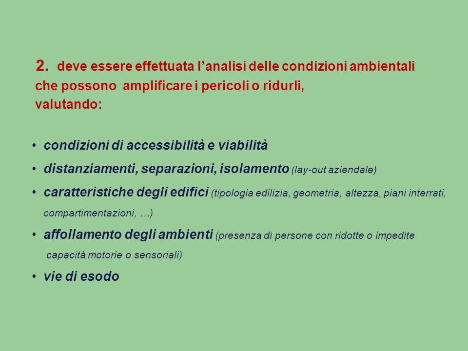 2. deve essere effettuata l'analisi delle condizioni ambientali che possono amplificare i pericoli o ridurli, valutando: condizioni di accessibilità e