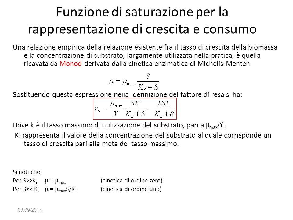 Funzione di saturazione per la rappresentazione di crescita e consumo Una relazione empirica della relazione esistente fra il tasso di crescita della