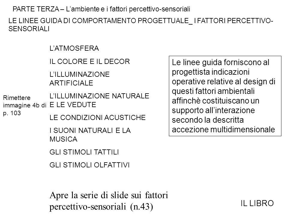 PARTE TERZA – L'ambiente e i fattori percettivo-sensoriali LE LINEE GUIDA DI COMPORTAMENTO PROGETTUALE_ I FATTORI PERCETTIVO- SENSORIALI IL LIBRO Rimettere immagine 4b di p.