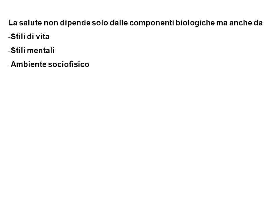 La salute non dipende solo dalle componenti biologiche ma anche da -Stili di vita -Stili mentali -Ambiente sociofisico