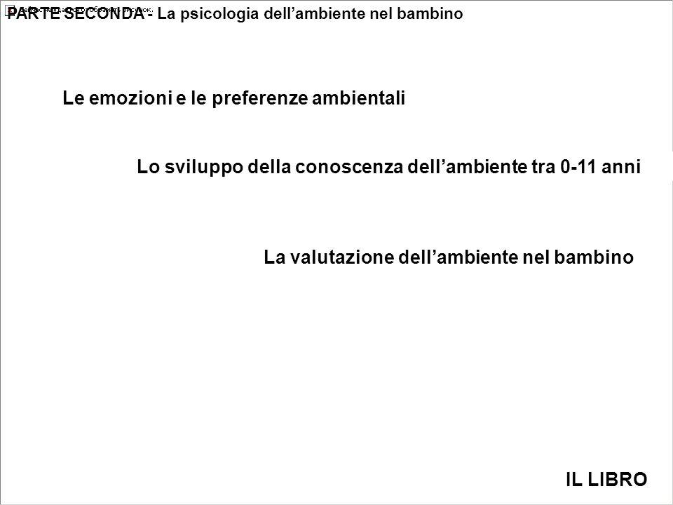 Le emozioni e le preferenze ambientali PARTE SECONDA - La psicologia dell'ambiente nel bambino Lo sviluppo della conoscenza dell'ambiente tra 0-11 anni La valutazione dell'ambiente nel bambino IL LIBRO