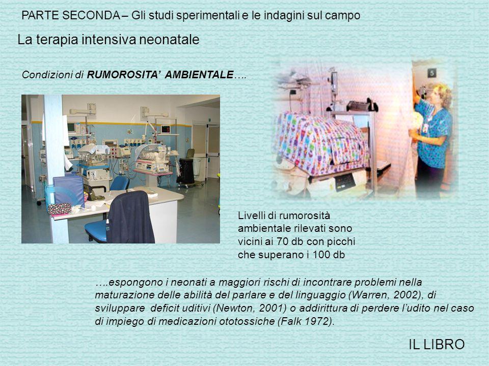 PARTE SECONDA – Gli studi sperimentali e le indagini sul campo IL LIBRO La terapia intensiva neonatale Condizioni di RUMOROSITA' AMBIENTALE….