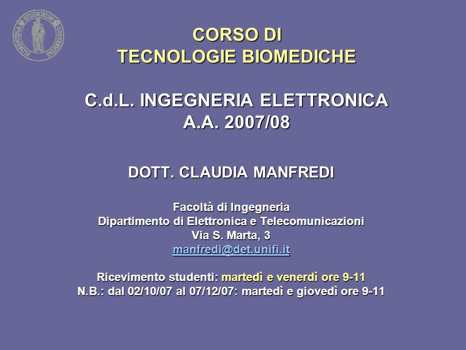 CORSO DI TECNOLOGIE BIOMEDICHE C.d.L. INGEGNERIA ELETTRONICA A.A. 2007/08 DOTT. CLAUDIA MANFREDI Facoltà di Ingegneria Dipartimento di Elettronica e T