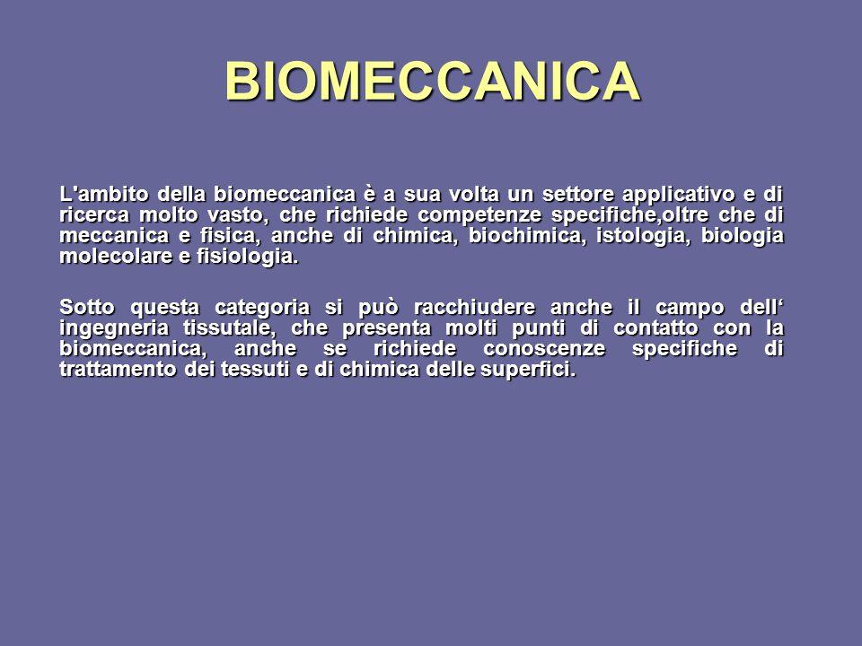 BIOMECCANICA L'ambito della biomeccanica è a sua volta un settore applicativo e di ricerca molto vasto, che richiede competenze specifiche,oltre che d