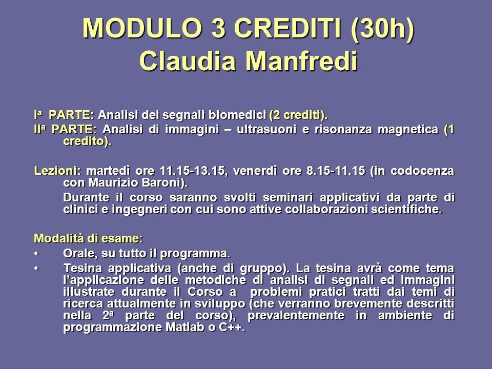 MODULO 3 CREDITI (30h) Claudia Manfredi I a PARTE: Analisi dei segnali biomedici (2 crediti). II a PARTE: Analisi di immagini – ultrasuoni e risonanza