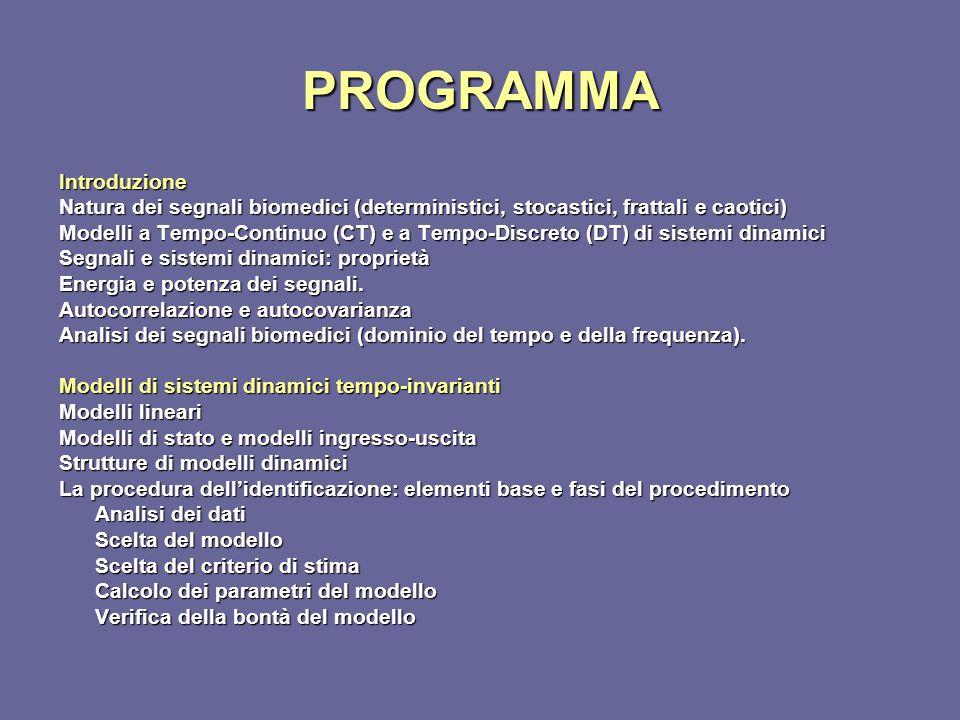 PROGRAMMA Introduzione Natura dei segnali biomedici (deterministici, stocastici, frattali e caotici) Modelli a Tempo-Continuo (CT) e a Tempo-Discreto