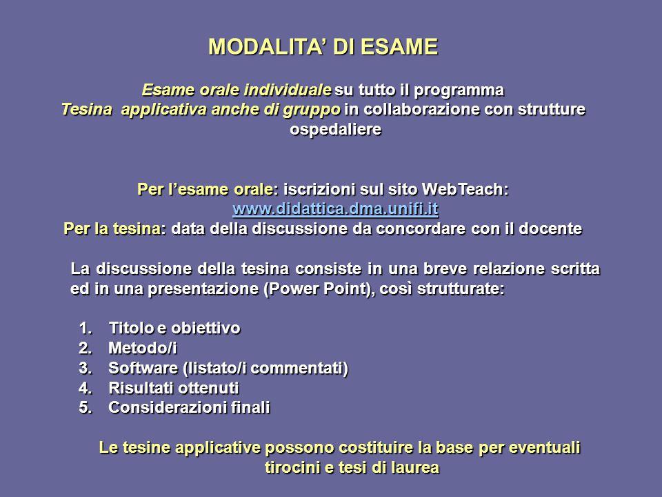 MODALITA' DI ESAME Esame orale individuale su tutto il programma Tesina applicativa anche di gruppo in collaborazione con strutture ospedaliere Per l'