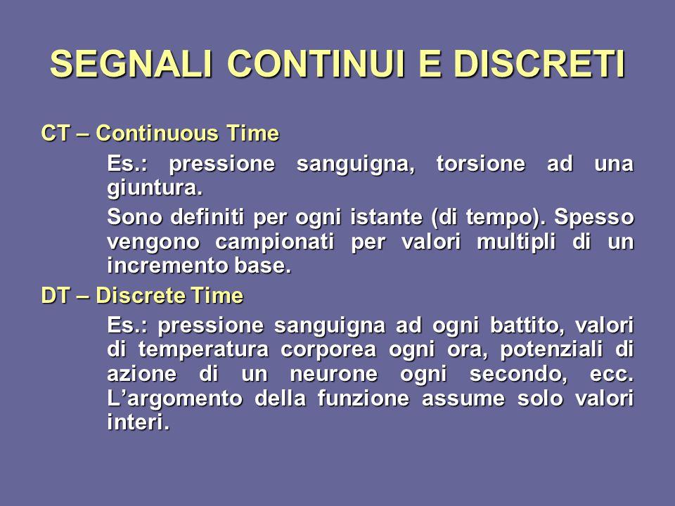 SEGNALI CONTINUI E DISCRETI CT – Continuous Time Es.: pressione sanguigna, torsione ad una giuntura. Sono definiti per ogni istante (di tempo). Spesso