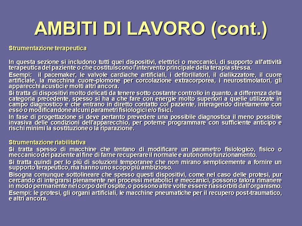 AMBITI DI LAVORO (cont.) Strumentazione terapeutica In questa sezione si includono tutti quei dispositivi, elettrici o meccanici, di supporto all'atti