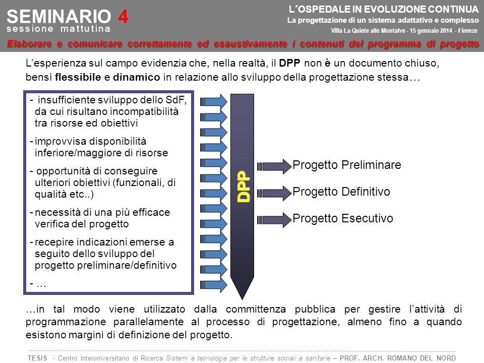 Progetto Preliminare Progetto Definitivo Progetto Esecutivo L'esperienza sul campo evidenzia che, nella realtà, il DPP non è un documento chiuso, bens