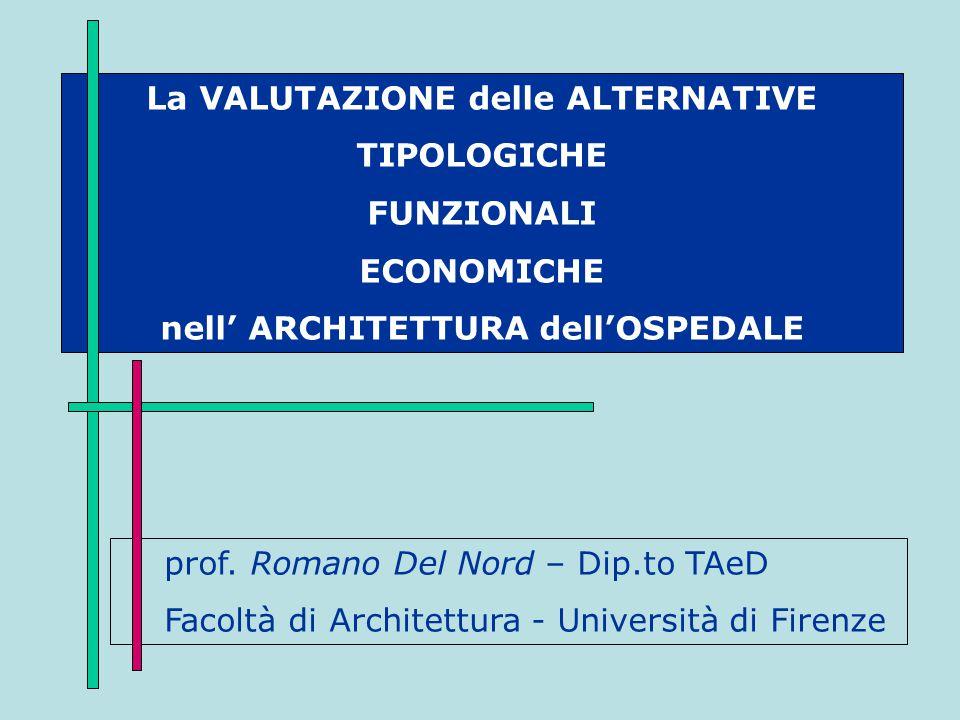 La VALUTAZIONE delle ALTERNATIVE TIPOLOGICHE FUNZIONALI ECONOMICHE nell' ARCHITETTURA dell'OSPEDALE prof. Romano Del Nord – Dip.to TAeD Facoltà di Arc