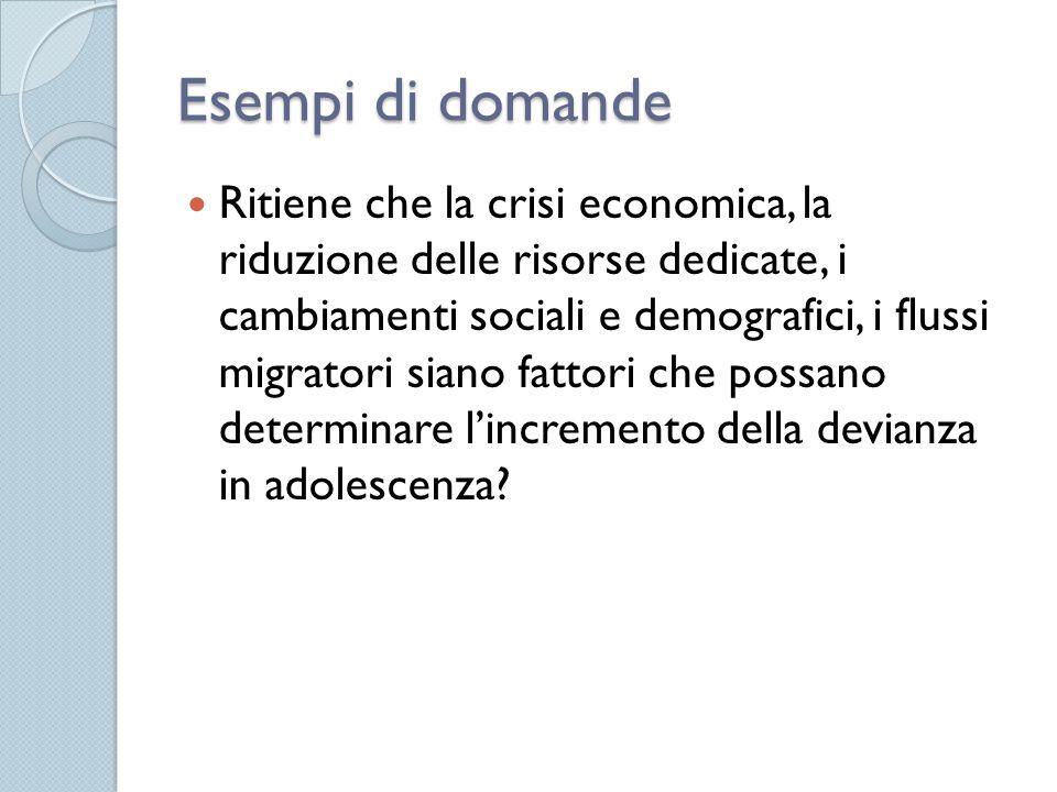 Esempi di domande Ritiene che la crisi economica, la riduzione delle risorse dedicate, i cambiamenti sociali e demografici, i flussi migratori siano fattori che possano determinare l'incremento della devianza in adolescenza