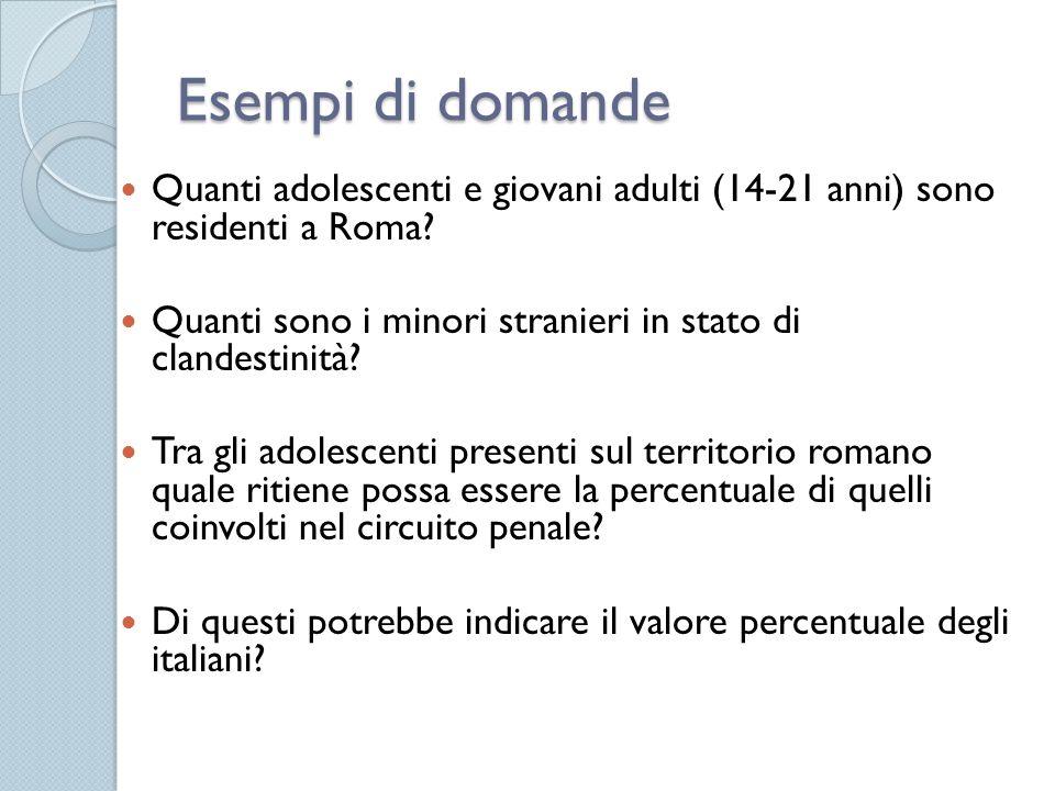 Esempi di domande Quanti adolescenti e giovani adulti (14-21 anni) sono residenti a Roma? Quanti sono i minori stranieri in stato di clandestinità? Tr