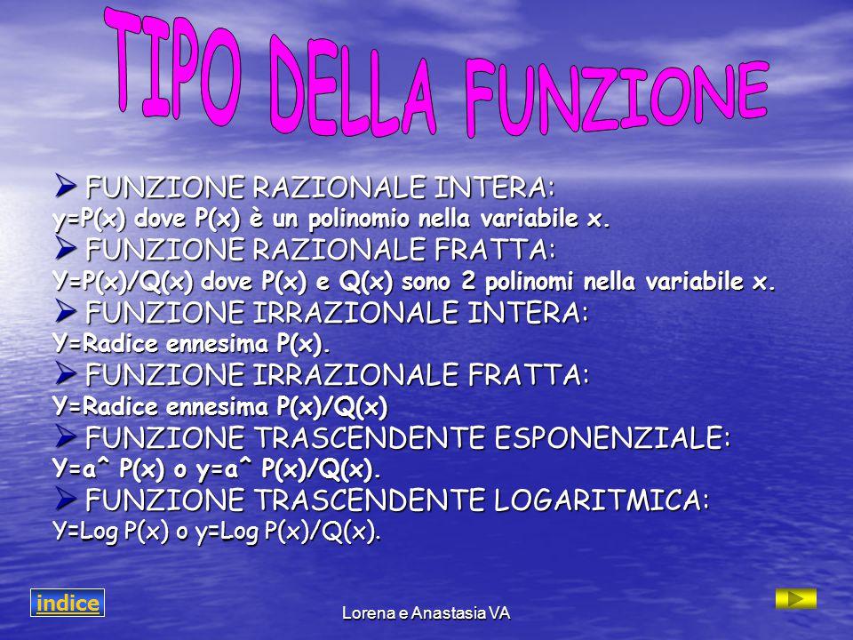Lorena e Anastasia VA  FUNZIONE RAZIONALE INTERA: y=P(x) dove P(x) è un polinomio nella variabile x.  FUNZIONE RAZIONALE FRATTA: Y=P(x)/Q(x) dove P(