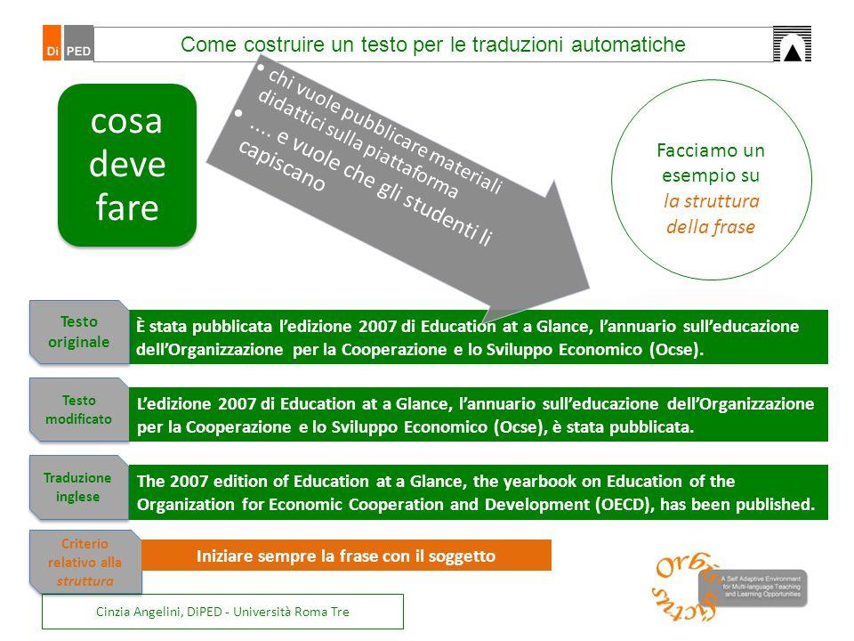 Cinzia Angelini, DiPED - Università Roma Tre È stata pubblicata l'edizione 2007 di Education at a Glance, l'annuario sull'educazione dell'Organizzazio