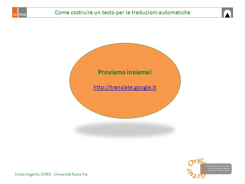 Come costruire un testo per le traduzioni automatiche Proviamo insieme! http://translate.google.it Cinzia Angelini, DiPED - Università Roma Tre