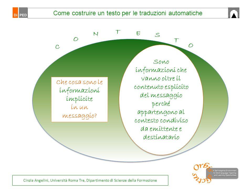 Come costruire un testo per le traduzioni automatiche deve essere esperto dei contesti (di partenza e di arrivo) deve essere esperto dei contesti (di partenza e di arrivo) conserva il contenuto, lo stile, il registro rendendoli comprensibili nel contesto di destinazione conserva il contenuto, lo stile, il registro rendendoli comprensibili nel contesto di destinazione T R A D U T T O Ragioniamo sul contesto nel caso delle traduzioni.