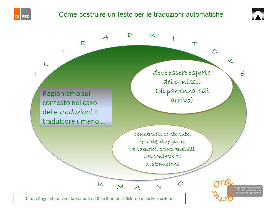 Come costruire un testo per le traduzioni automatiche deve essere esperto dei contesti (di partenza e di arrivo) deve essere esperto dei contesti (di