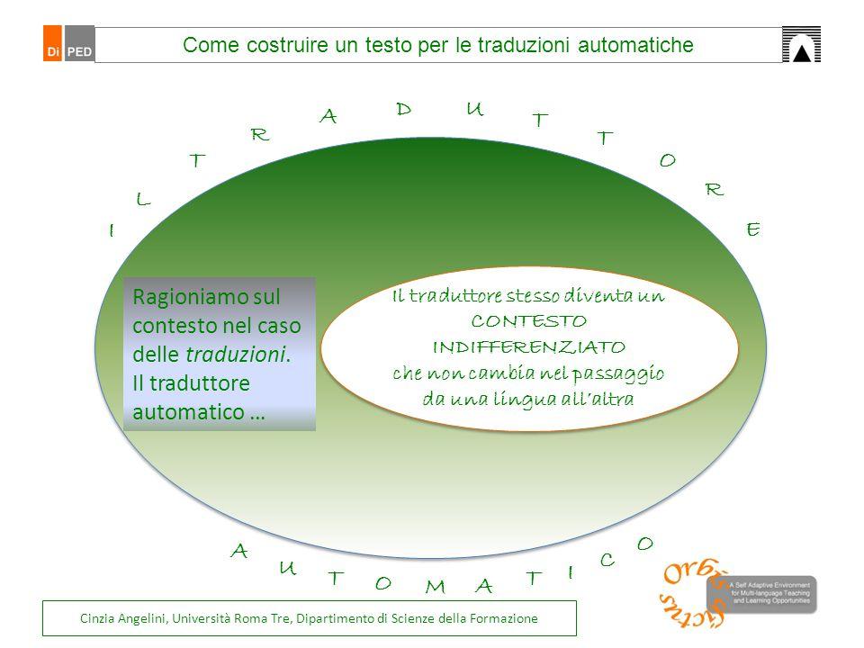 Come costruire un testo per le traduzioni automatiche Il traduttore stesso diventa un CONTESTO INDIFFERENZIATO che non cambia nel passaggio da una lin