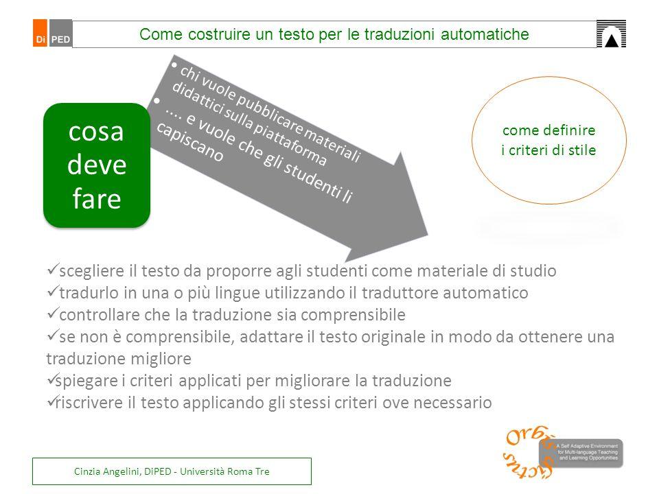 Cinzia Angelini, DiPED - Università Roma Tre chi vuole pubblicare materiali didattici sulla piattaforma.... e vuole che gli studenti li capiscano cosa