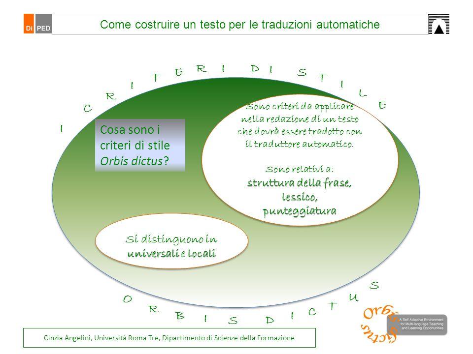 Sono criteri da applicare nella redazione di un testo che dovrà essere tradotto con il traduttore automatico. Sono relativi a: struttura della frase,