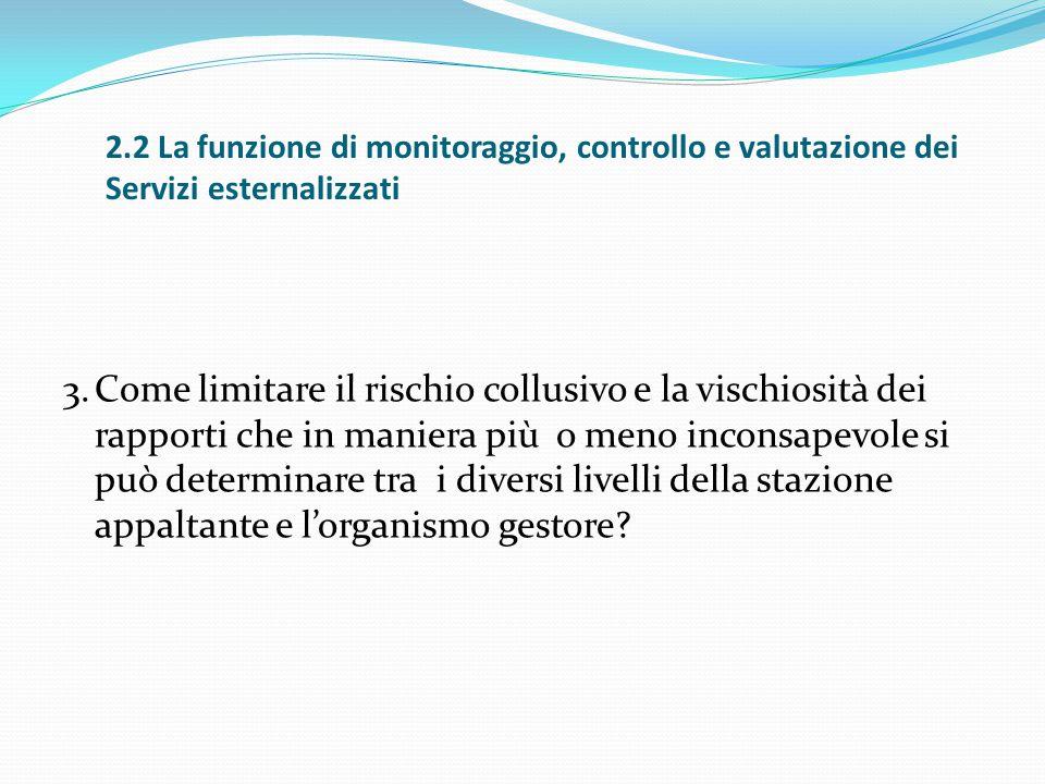 2.2 La funzione di monitoraggio, controllo e valutazione dei Servizi esternalizzati 3.Come limitare il rischio collusivo e la vischiosità dei rapporti