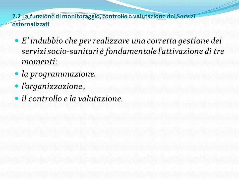 2.2 La funzione di monitoraggio, controllo e valutazione dei Servizi esternalizzati E' indubbio che per realizzare una corretta gestione dei servizi s