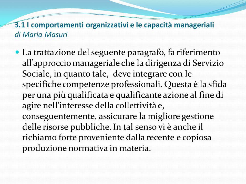 3.1 I comportamenti organizzativi e le capacità manageriali di Maria Masuri La trattazione del seguente paragrafo, fa riferimento all'approccio manage