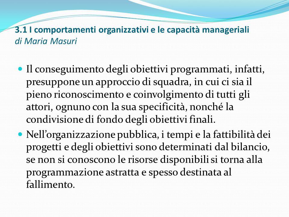 3.1 I comportamenti organizzativi e le capacità manageriali di Maria Masuri Il conseguimento degli obiettivi programmati, infatti, presuppone un appro