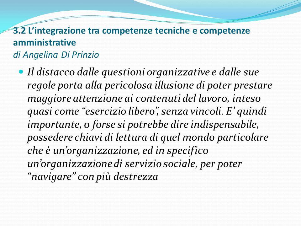 3.2 L'integrazione tra competenze tecniche e competenze amministrative di Angelina Di Prinzio Il distacco dalle questioni organizzative e dalle sue re