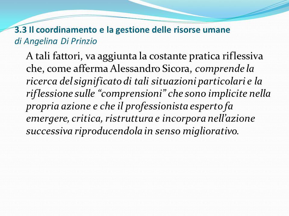 3.3 Il coordinamento e la gestione delle risorse umane di Angelina Di Prinzio A tali fattori, va aggiunta la costante pratica riflessiva che, come aff