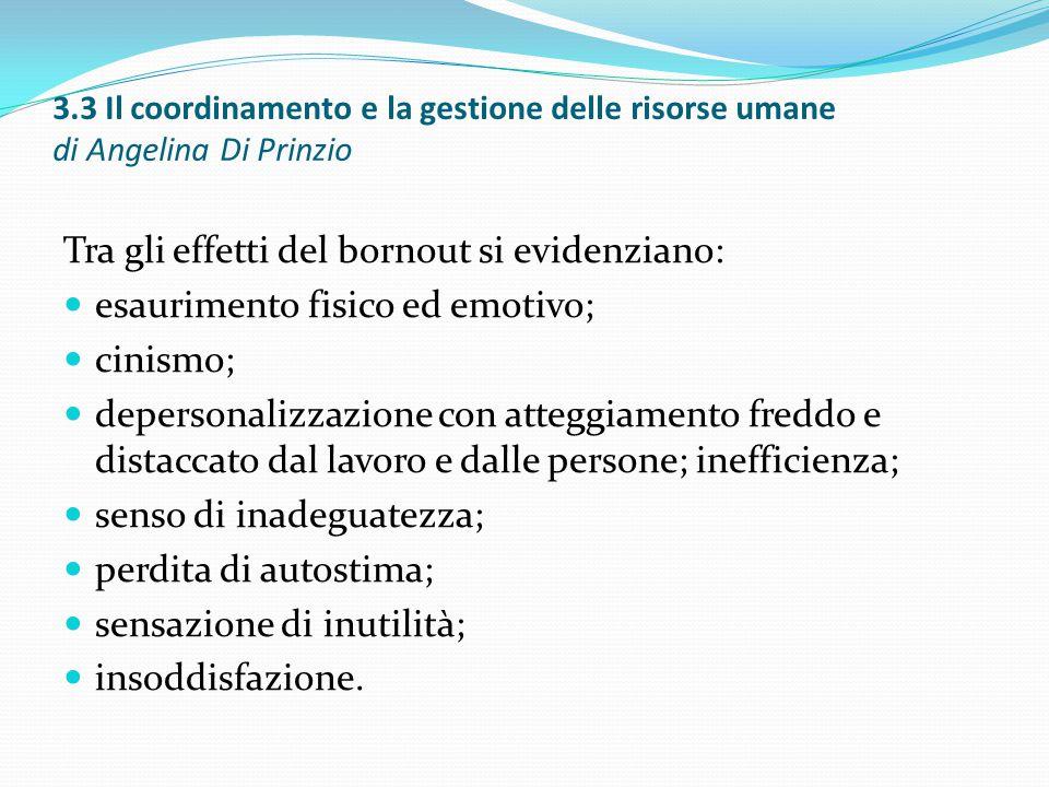 3.3 Il coordinamento e la gestione delle risorse umane di Angelina Di Prinzio Tra gli effetti del bornout si evidenziano: esaurimento fisico ed emotiv