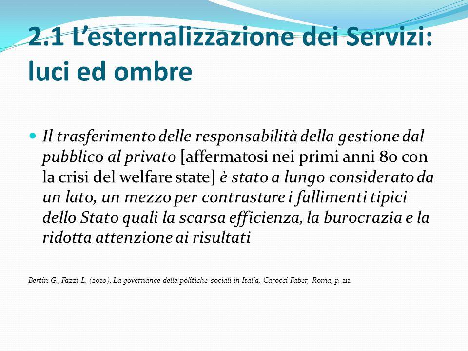 2.1 L'esternalizzazione dei Servizi: luci ed ombre Il trasferimento delle responsabilità della gestione dal pubblico al privato [affermatosi nei primi