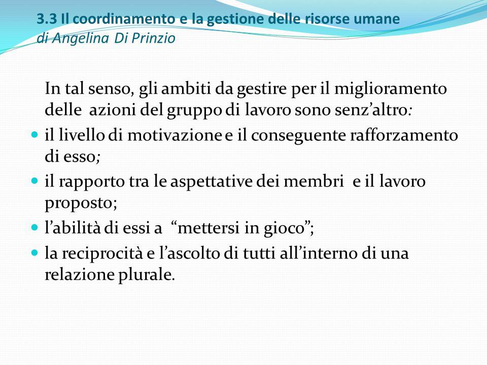 3.3 Il coordinamento e la gestione delle risorse umane di Angelina Di Prinzio In tal senso, gli ambiti da gestire per il miglioramento delle azioni de